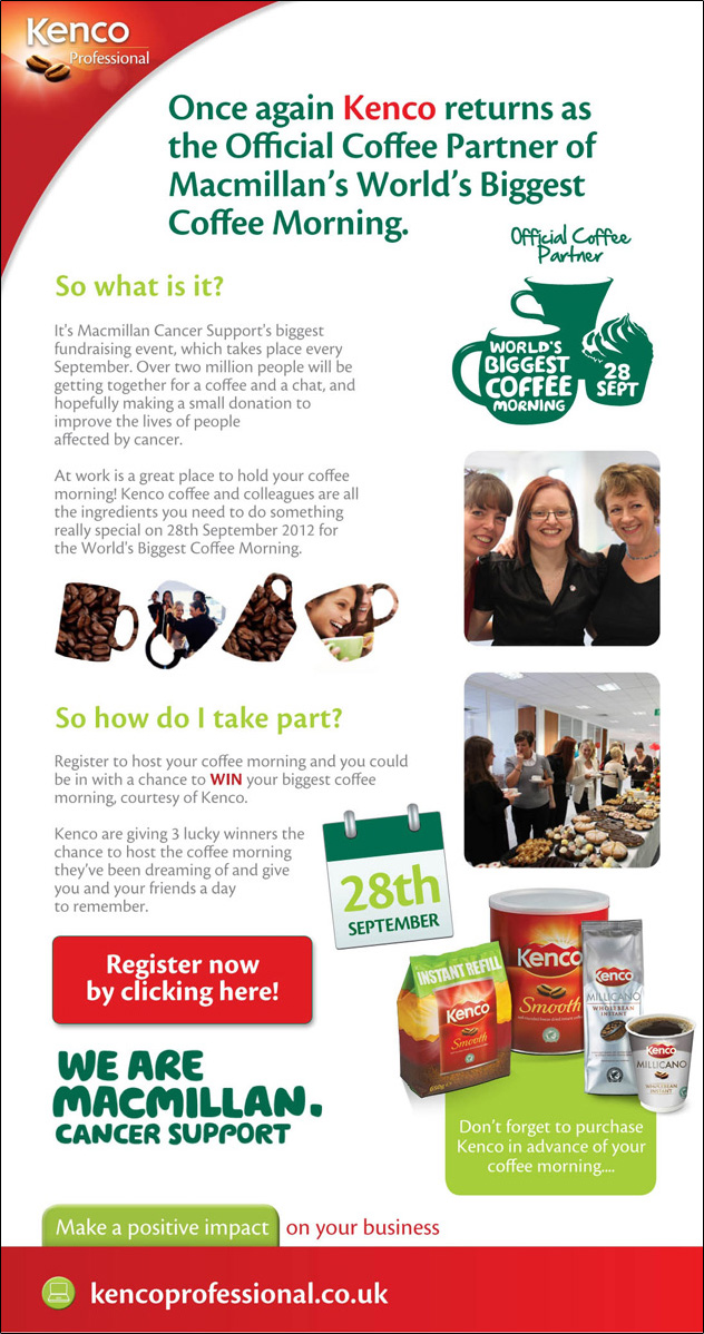 Join the biggest coffee morning ever with Kenco & Macmillan Cancer Support